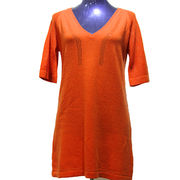 Woman's Cashmere Plain V-Neck Sweater 12GG 26s/2*1 Half-sleeve from Inner Mongolia Shandan Cashmere Products Co.Ltd
