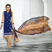 Cotton brasso embroidered suit from India