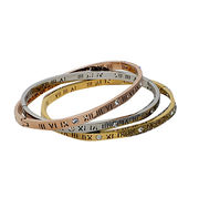 Quality Titanium Bangles with Platinum Plating, Hollowed Roman Numerals and Sparkling Crystal Made