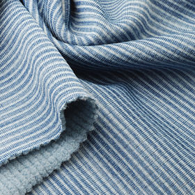 Fleece Fabric in Heather Check with Spandex, For Winter Coats and Jackets