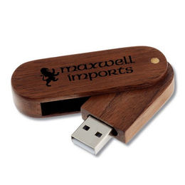 Popular Gift/Eco-friendly Wooden Swivel USB Flash Drive with Customized Logos from Memorising Tech Limited