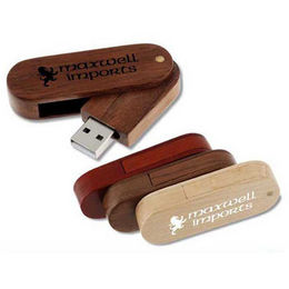 Popular Gift/Eco-friendly Wooden Swivel USB Flash Drive in Customized Logos from Memorising Tech Limited