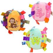 Cartoon plush colorful ball with ring bell baby plush toys from Dongguan Yi Kang Plush Toys Co., Ltd