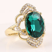 Big flower best friends costume designer jewelry charm green crystal rings from HK Yida Accessories Co. Ltd