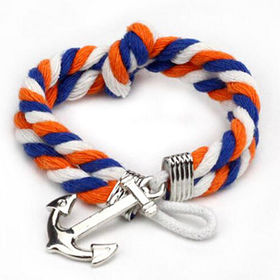 Anchor Braided Cord Bracelets, Custom Designs are Welcome