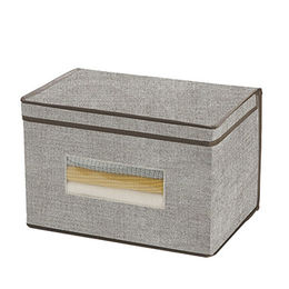 Home storage boxes with lid, with visualization window, made of blend weaving fabric