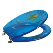 China High Quality Transparent Polyresin Toilet Seat Cover with Soft-close Hinge