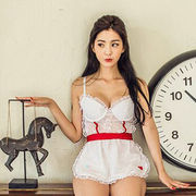 Hong Kong SAR Babydolls with lace decoration,available size S,M,L,XL,accepted customize