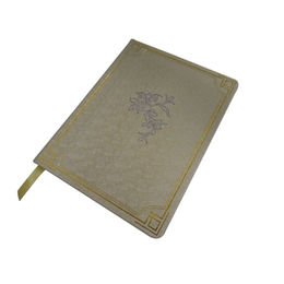 Leather personal planner, ribbon bookmark, with debossing and golden hot flower stamping