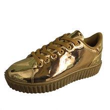 Stylish ladies' golden shiny mirror PU fashion platform women's shoes from Xiamen Wayabloom Industry Co., Ltd