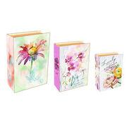 Canvas wood storage book box set from China (mainland)