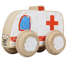 Kids wooden ambulance car toy from China (mainland)
