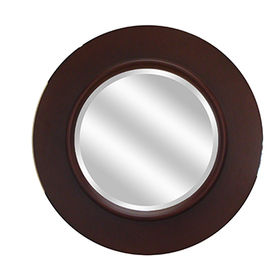 Modern Round bathroom Wall Mirror Solid Wood frame from China (mainland)