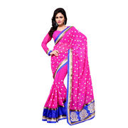 Magnetize Faux Chiffon Hot Pink Designer Saree from India