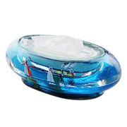 Tissue box made of glass in aquarium shape