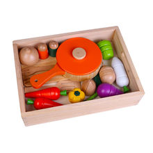 Kid's wooden cutting vegetables