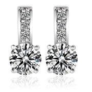 China Star Milky-way Design Platinum-plated Women's Cubic Zirconia Stud Earrings