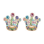 China Crown Design Platinum Plated for Woman Austria Crystal Stud Earrings