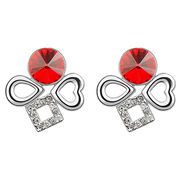 More Words Design Platinum Plated for Women's Austria Crystal stud Earrings
