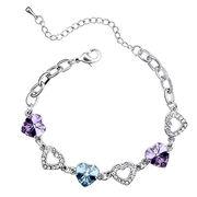 China Heart Design Platinum-plated Austria Crystal Bracelet for Women