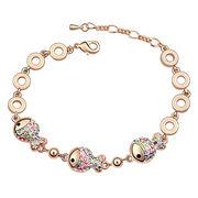 China Fish Design Rose gold-plated Austria Crystal Bracelet for Women
