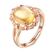 China Citrine Elegant Design Rhodium Plated for Women Sterling Silver Rings