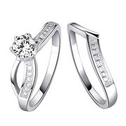 China Cubic Zirconia Fashion Design Rhodium Plated for Women Sterling Silver Set Rings