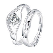 China Cubic Zirconia Fashion Design Rhodium Plated for Women 925 Silver Set Rings