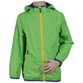 Children's windbreakers, hooded green with yellow zipper fashionable design FAMA