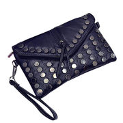 PU leather shoulder bag, classics black styles with strong handle and rivet ACC for women from Iris Fashion Accessories Co.Ltd
