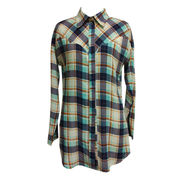 Women's latest long-sleeved casual colorful plaid shirt