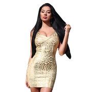 China Snake Woodgrain Foil Print Bandage Dress