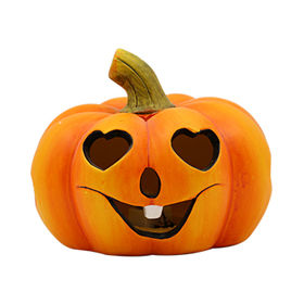 New Halloween Pumpkin Ceramic Tealight Candle Hold from China (mainland)