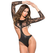 Faux Leather Lace Teddy , Made of Polyester + Spandex, Available in Various Sizes