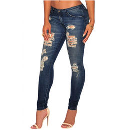Dark Sandblast Wash Denim Destroyed Skinny Jeans from China (mainland)