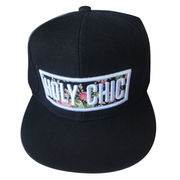 Snap back caps with 3D applique embroidery, polyester heavy twill, flat brim