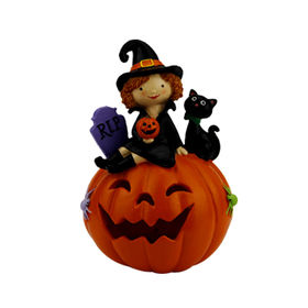 China New Ghost on Pumpkin Figurine Table Top Accent Fal