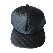 Snap back caps in quilted PU, flat brim
