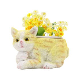 New Hand painted Polyresin Cat Flower pots,Animals garden planter for Home and outdoor decor