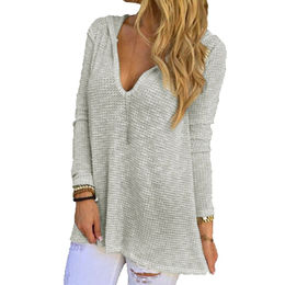 Hooded V-Neck Long Sleeve Loose Knitted Top