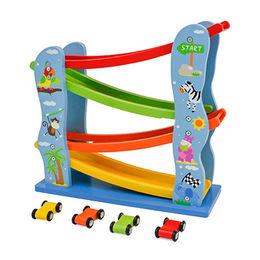 2016 new design children's funny wooden car track toy, W04E045