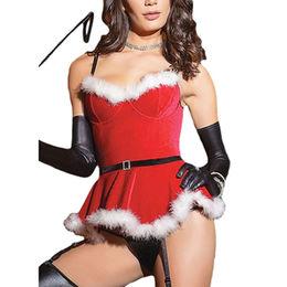 China Faux Fur Trim Velvet Bustier Sweet Santa Costume