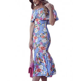 Floral Off Shoulder Blue Floral Mermaid Dress from China (mainland)