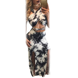 China Tie Dye Crop Top Split Maxi Skirt Set