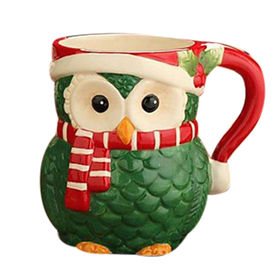 Hot selling Ceramic Owl Winter Christmas Mug,Perfect for the Holidays,Various Styles and Colors