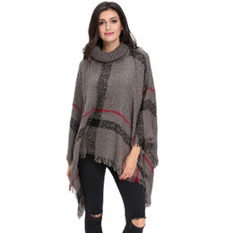 Gray Turtleneck Tassel Cape Sweater from China (mainland)