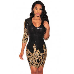 Black Victorian Gold Sequins 3/4 Sleeves Bodycon