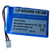 Lithium polymer battery pack, 3.7V/1000mAh/LP-603448-1S-2M from Shenzhen BAK Technology Co. Ltd