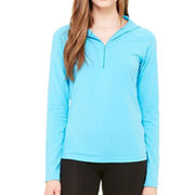 Women half zip cotton jersey hooded pullover from China (mainland)