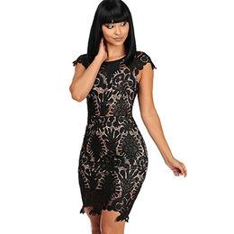 China Black Crochet Cap Sleeve Mini Dress